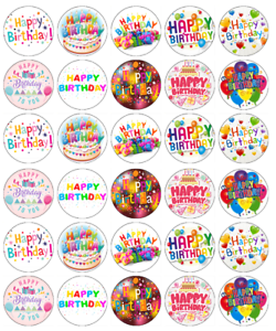 Image Is Loading 30 X Happy Birthday Cupcake Toppers Edible Wafer