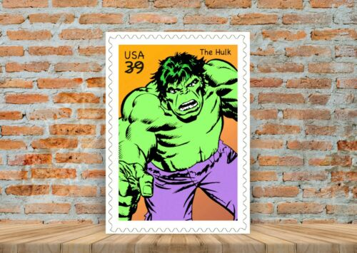 The Incredible Hulk Vintage Marvel Stamp Poster or Canvas Art Print A3 A4 Sizes