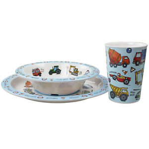 Image Is Loading Set Of 3 Vehicles Childrens Dinner Breakfast