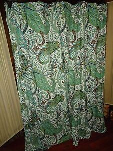 Image Is Loading THRESHOLD BLUE GREEN BROWN CREAM PAISLEY FABRIC SHOWER