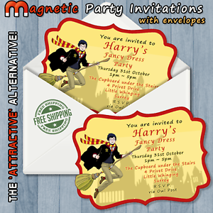 Image Is Loading Personalised Magnetic Party Invitations Harry Potter Birthday Kids