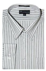 Men-039-s-Milano-Moda-Classic-Stylish-Stripes-Dress-casual-Shirt-White-Black-S36