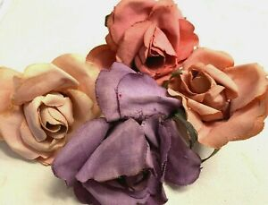 VINTAGE-ROSES-FLOWERS-COTTON-1940-039-s-1-piece-Czechoslovakia