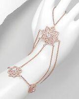 18k Rose Vermeil-pave 5a Cz Slave Lace Bracelet & Chain Ring-ss/925-adjustable