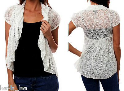 Dizzlle Womens Lace Cardigans Long Sleeve Drape Front Assymetrical Cover Up Shrug