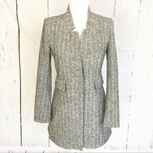 Zara-Black-and-White-Tweed-Single-Button-Coat-Size-XS