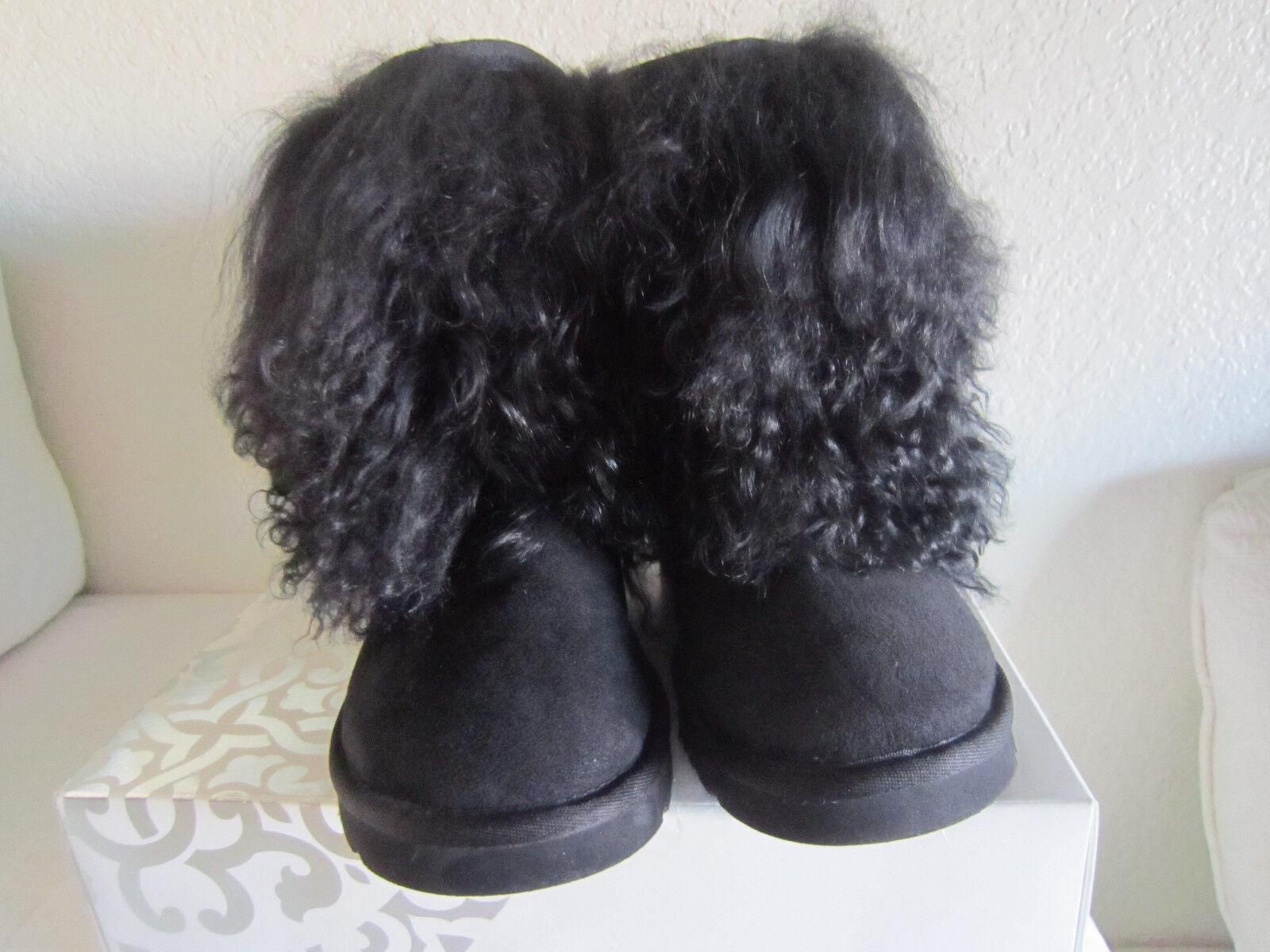 Ugg Australia Sheepskin Mongolian Short Cuff Boots Women's Black Sz 7