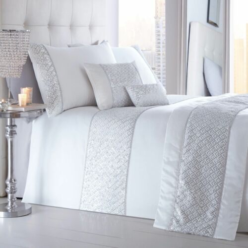 Shimmer White Duvet Quilt Cover Set Luxurious Quilted Sparkle Diamante