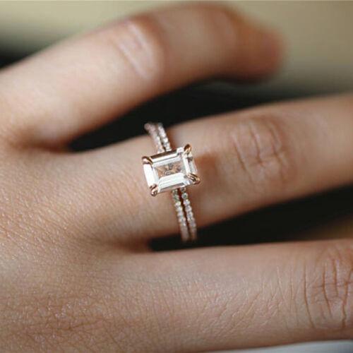 Mujeres 2Pcs Anillo de boda compromiso conjunto Cristal Estrás Joyería Regalo 6A