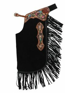 Black Suede Leather Western Horse Saddle Fancy Chinks / Chaps For Work or Rodeo