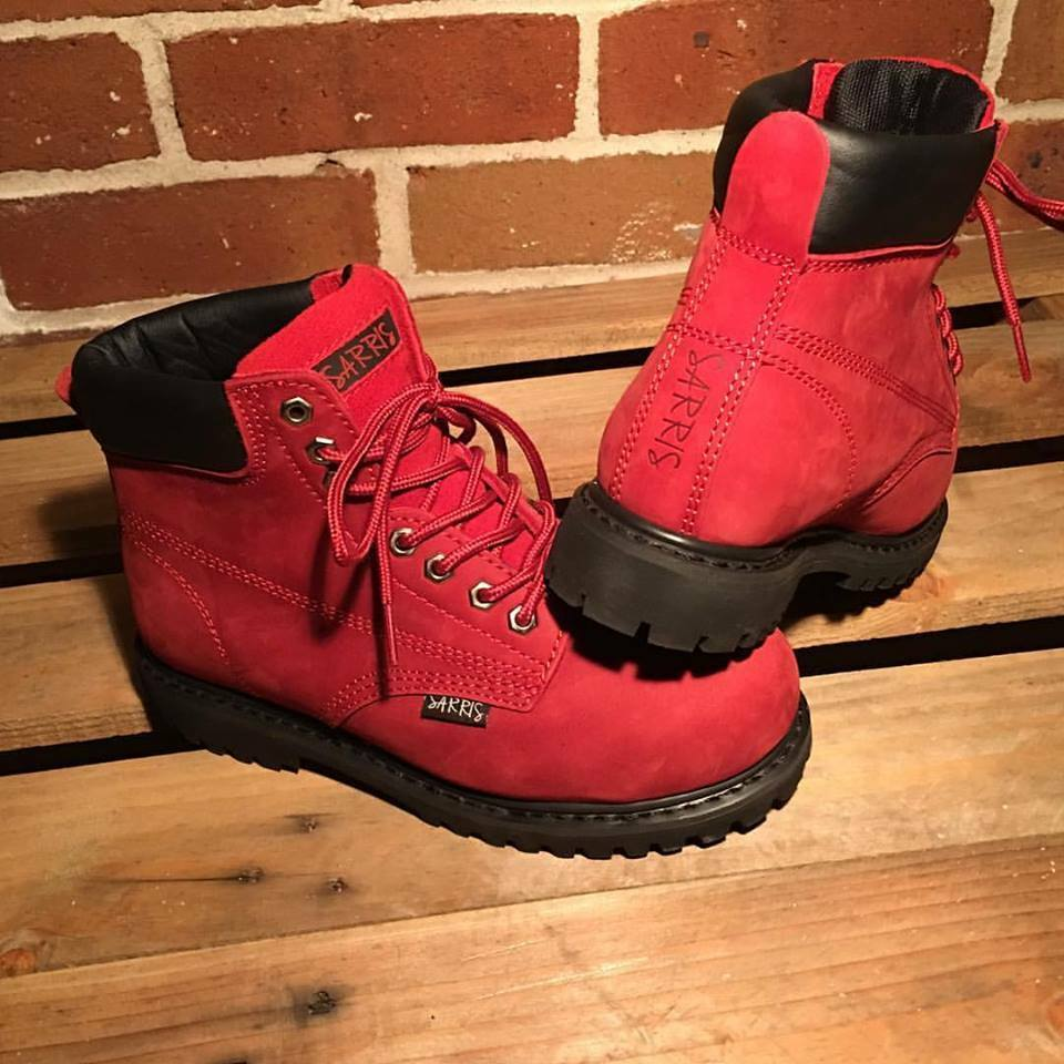 FUNKY -  RED SAFETY WORK BOOTS LACE UP STEEL TOE CAP