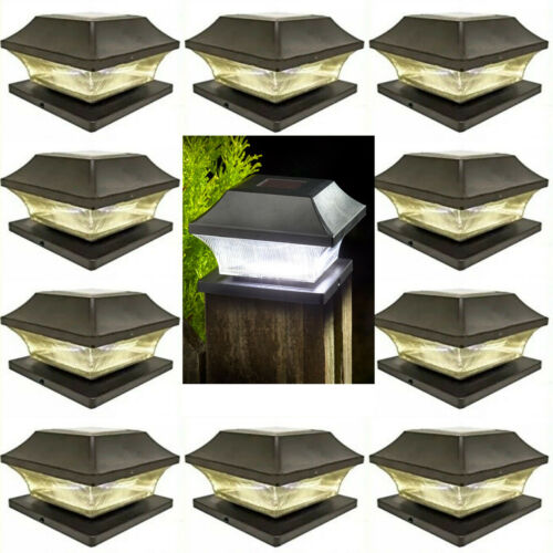 6 x PC LED Outdoor Garden Solar Powered Deck Cap Square Fence Post Yard Lights