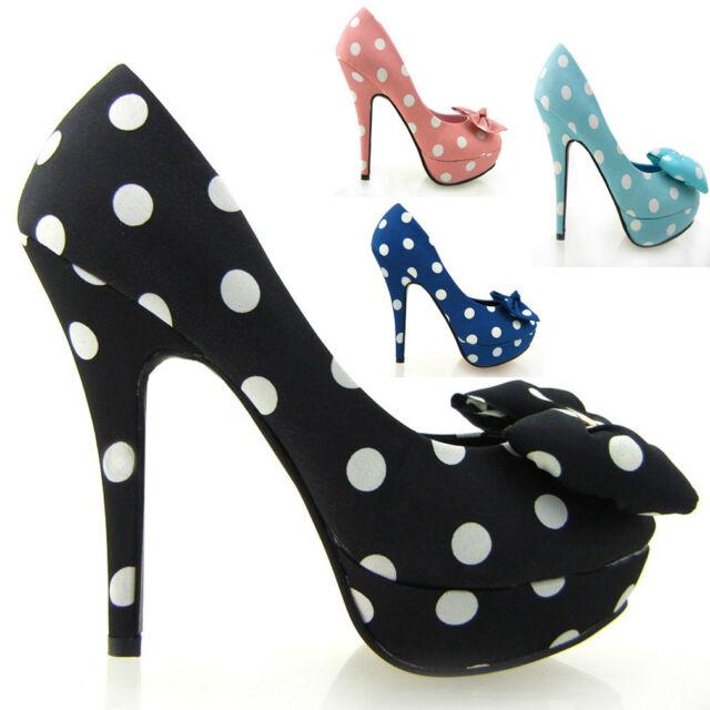 White Polka Dots Bow EVE Platform Shoes