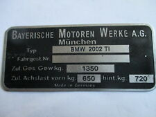 Typenschild BMW 2002 ti  2002ti 1350 kg Schild plate ID S29 tag