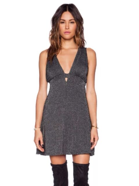 $108 Free People F361Z094 Dance of the Night Black Shimmer Halter Party Dress