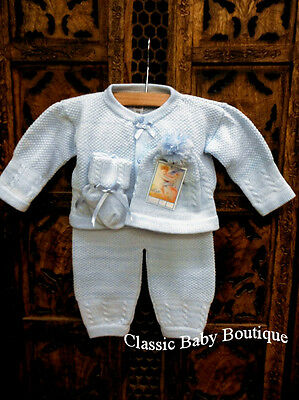NWT Will'beth Blue Knit 4pc Sweater LS Set Newborn Baby Boys Hat Booties