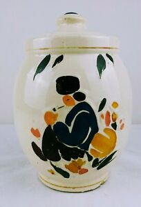 Vintage-McCoy-Cookie-Jar-Smoking-Dutchman-Pipe-Brown-Yellow-White-Red-Pink-USA