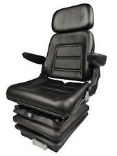 Tractor Seat Fully Adjustable With Suspension Black Vinyl John Deere Case Ih Ect
