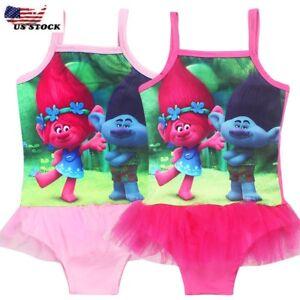 56f698d7af616 Image is loading Girls-Poppy-Trolls-Swimsuit-Swimwear-Bathing-swimming-suit-