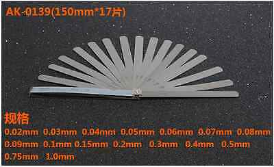 High precision feeler gauge measuring gap metric ruler 150mmx17pcs 0.02mm-1.0mm