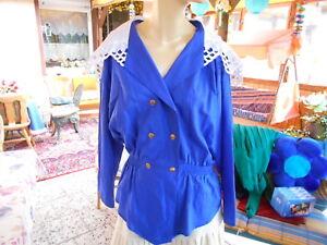 """Bluse """"marielle"""" Königsblau Mit Spitzenkragen Profitieren Sie Klein Kleidung & Accessoires Vintage-mode Klug Vintage-mode Aus Den 70ern"""