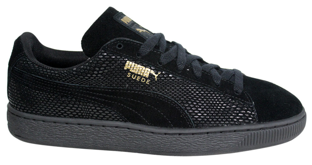 Puma Suede Gold Pack Womens Lace Up Lo Trainers Black 361862 01 D39
