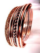 ELEGANT SPARKLING BRONZE / ROSE GOLD PHAROAH STYLE BANGLE SET BRAND NEW  (CL2)