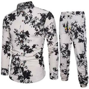 Men-039-s-Luxury-floral-formal-tops-long-sleeve-casual-T-shirt-slim-fit-dresses