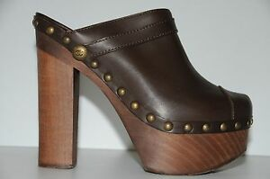 83c90b89b07 Image is loading NEW-AUTHENTIC-CHANEL-Brown-Leather-Platform-CLOGS-CLOG-