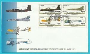 Chile-aus-1993-FDC-MiNr-1555-1558-Flugzeuge-Hubschrauber