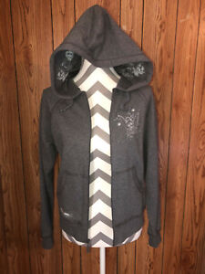 Walt-Disney-World-Gray-Stitched-Tinkerbell-Sweat-Jacket-Small-Hooded-Zip-Front