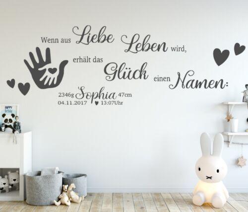 Wandtattoo Kinderzimmer NAME Baby Geburt Wandspruch Wunschname tk42 Name Datum