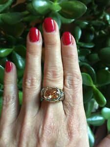 NEW-designer-inspired-Large-Amber-Topaz-CZ-Ring-w-Vintage-Scroll-Detail-Size-7