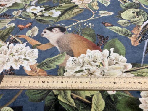 Tropical  Velvet Monkey Blue Grey  140cm wide Curtain//Upholstery Fabric