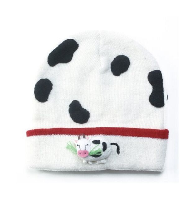 Promo Kidorable Kids Knitted White Cow Hat Childrens Childs Boys Farm  Knitwear a439683bb39