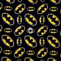 BonEful Fabric FQ Cotton Quilt Black B&W Yellow Batman LOGO Super Hero Comic Boy