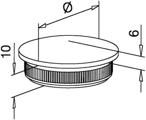 Rohrstopfen Inox Deckel gewölbt Edelstahl V2A für Rohr 33,7x2,0