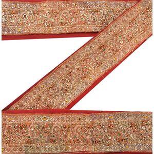 Sanskriti Vintage Red Sari Border Hand Beaded Indian Craft Trim Sewing Lace
