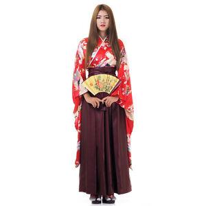 Image is loading Japanese-Woman-Samurai-Kimono-Blouse-Hakama-Pants-Robe-  sc 1 st  eBay & Japanese Woman Samurai Kimono Blouse + Hakama Pants Robe Geisha ...