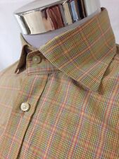 Tailorbyrd M/M Plaid Classic Fit Long Sleeve Shirt Tan and Orange Checks Design