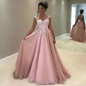 Pink Lace V Neck Long Prom Dress Party Evening Gown Wedding Guest