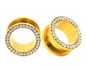 PAIR-Gold-Stainless-Steel-CZ-Ear-Gauges-Ear-Plugs-Flesh-Tunnels-6G-5-8-034