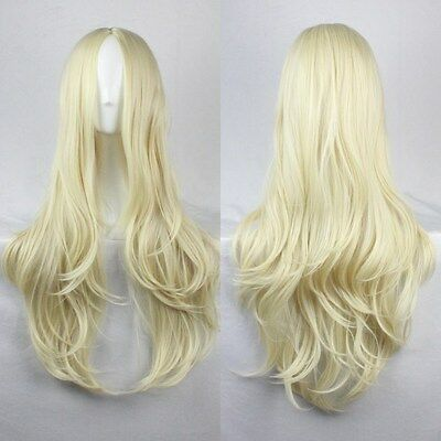 New Fashion Womens Wigs Long Curly Wavy Anime Cosplay Party Wig Full Long Bangs
