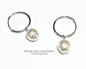 356d445d5f26 PENDIENTES AROS PLATA de Ley 20 mm y PERLAS Shell facetadas 10 mm + ...