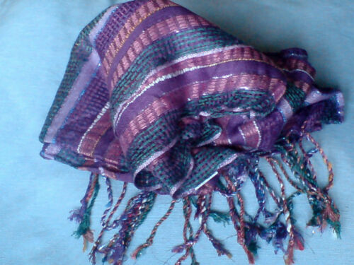 INDIAN MULTI-COLOURED STRIPED FRINGED SCARF 70cm.x200cm.in 2 COLOURS £6.95 nwt