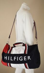 TOMMY-HILFIGER-LARGE-DUFFLE-BAG-GYM-NAVY-BLUE-RED-WHITE-SYNTHETIC