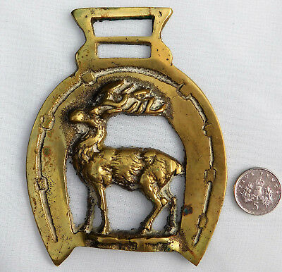 Stag in horse shoe horse brass hunting country sports traditional deer ornament