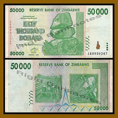 100 Trillion Series Zimbabwe 50 Thousand Dollars 2008 AA//AB Circulated
