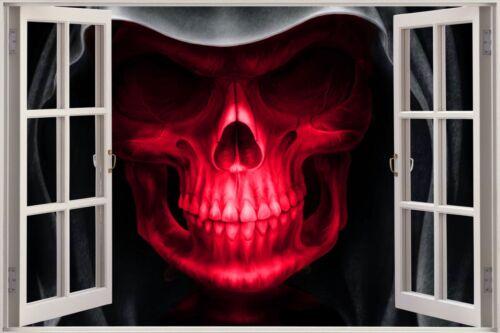 Énorme 3D balcon Grim Skull Head Wall Stickers Mural Papier Peint 165 Rouge