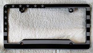 Aluminum License Plate Frame >> American Flag Billet Aluminum License Plate Frame Single No Badge